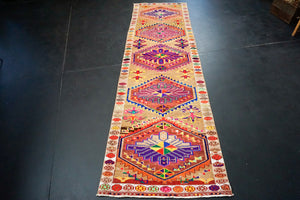3'5 x 12'3 Bright Turkish Runner MCM Fuscia Runner Bohemian