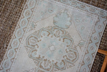 Load image into Gallery viewer, 3'1 x 10' Vintage Turkish Oushak Runner Muted Cream, Blue and Brown