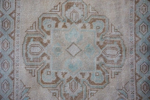 3'1 x 10' Vintage Turkish Oushak Runner Muted Cream, Blue and Brown