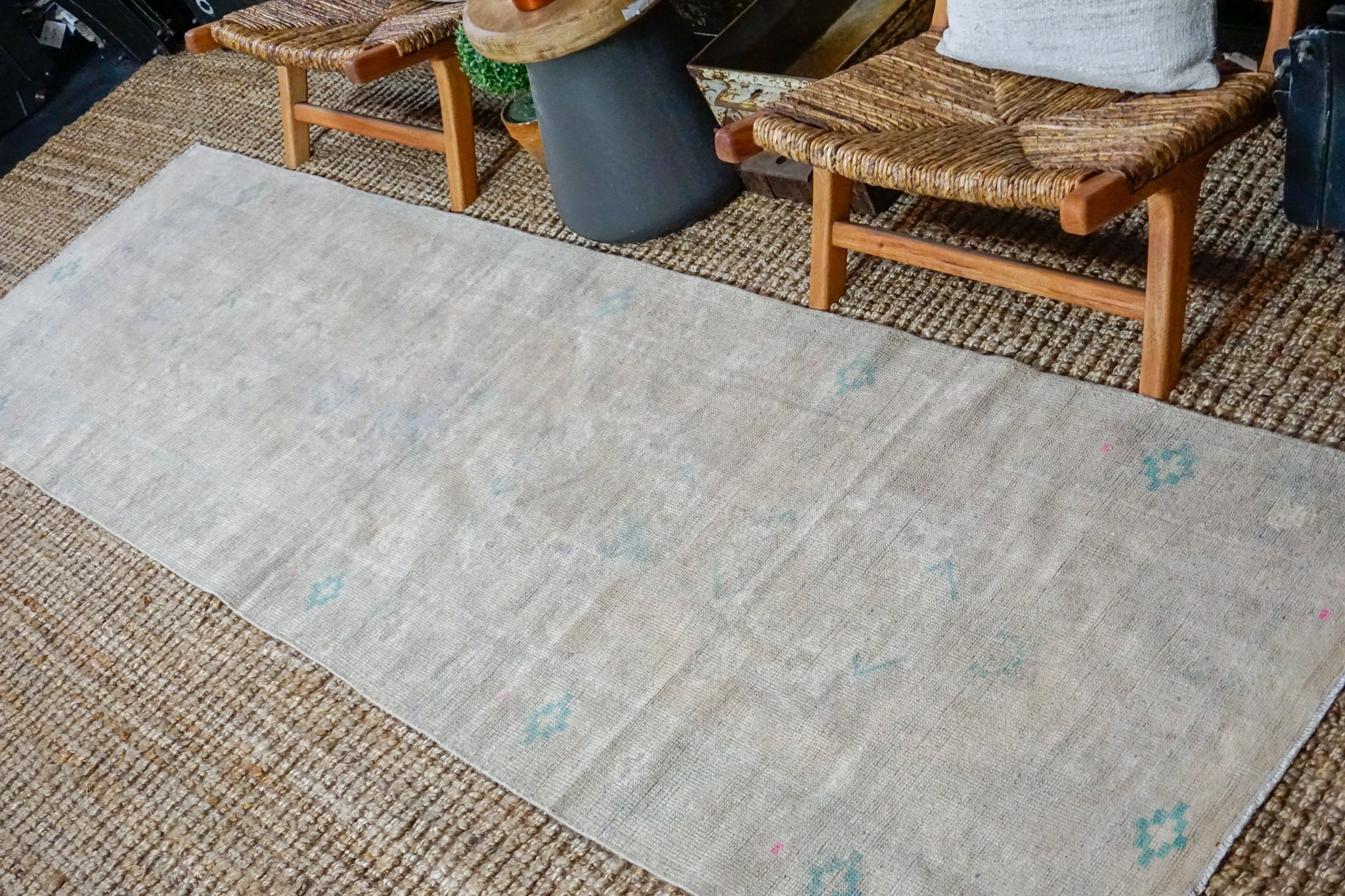 3' x 10' Vintage Turkish Oushak Runner Muted Gray, Turquoise and Beige