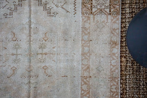 3'6 x 7'1 Turkish Oushak Rug Muted Beige, Copper and Sea Green Vintage 60's