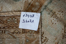 Load image into Gallery viewer, 3'6 x 7'1 Turkish Oushak Rug Muted Beige, Copper and Sea Green Vintage 60's
