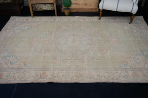 6'2 x 9'2 Vintage Oushak Rug Muted Green, Blue & Red Carpet