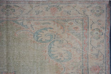 Load image into Gallery viewer, 6'2 x 9'2 Vintage Oushak Rug Muted Green, Blue & Red Carpet