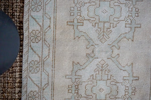 3' x 9' Vintage Turkish Oushak Runner Muted Beige, Cream + Sea Green