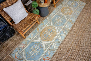 2'9 x 10'6 Vintage Turkish Oushak Runner Muted Blue, Cream + Copper