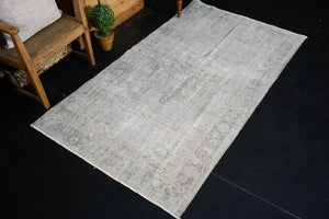 3'7 x 6'7 Vintage Oushak Rug Gray Overdyed Carpet