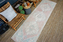 Load image into Gallery viewer, 2'10 x 9'7 Vintage Turkish Oushak Runner Muted Pink, Blue + Cream