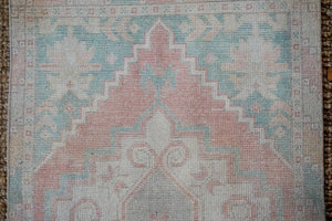 2'10 x 9'7 Vintage Turkish Oushak Runner Muted Pink, Blue + Cream