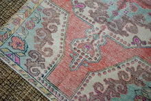 Load image into Gallery viewer, 4'2 x 6'9 Vintage Turkish Oushak Carpet Muted Pink, Blue + Grape