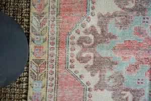 4'2 x 6'9 Vintage Turkish Oushak Carpet Muted Pink, Blue + Grape