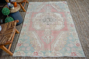 4'4 x 7'6 Vintage Turkish Oushak Carpet Pink, Aqua Blue + Vanilla
