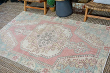 Load image into Gallery viewer, 4'4 x 7'6 Vintage Turkish Oushak Carpet Pink, Aqua Blue + Vanilla