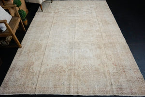 6'9 x 10'2 Vintage Oushak Rug Beige, Rose & Blue Carpet Reversible