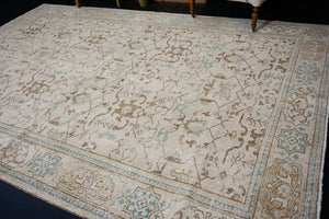 7' x 10'7 Vintage Oushak Rug Beige, Brown & Sea Blue Carpet