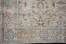 Load image into Gallery viewer, 7' x 10'7 Vintage Oushak Rug Beige, Brown & Sea Blue Carpet