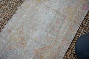 2'9 x 8'8 Vintage Turkish Oushak Carpet Muted Gray, Pink + Blue 60's