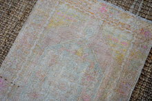 Load image into Gallery viewer, 2'9 x 8'8 Vintage Turkish Oushak Carpet Muted Gray, Pink + Blue 60's