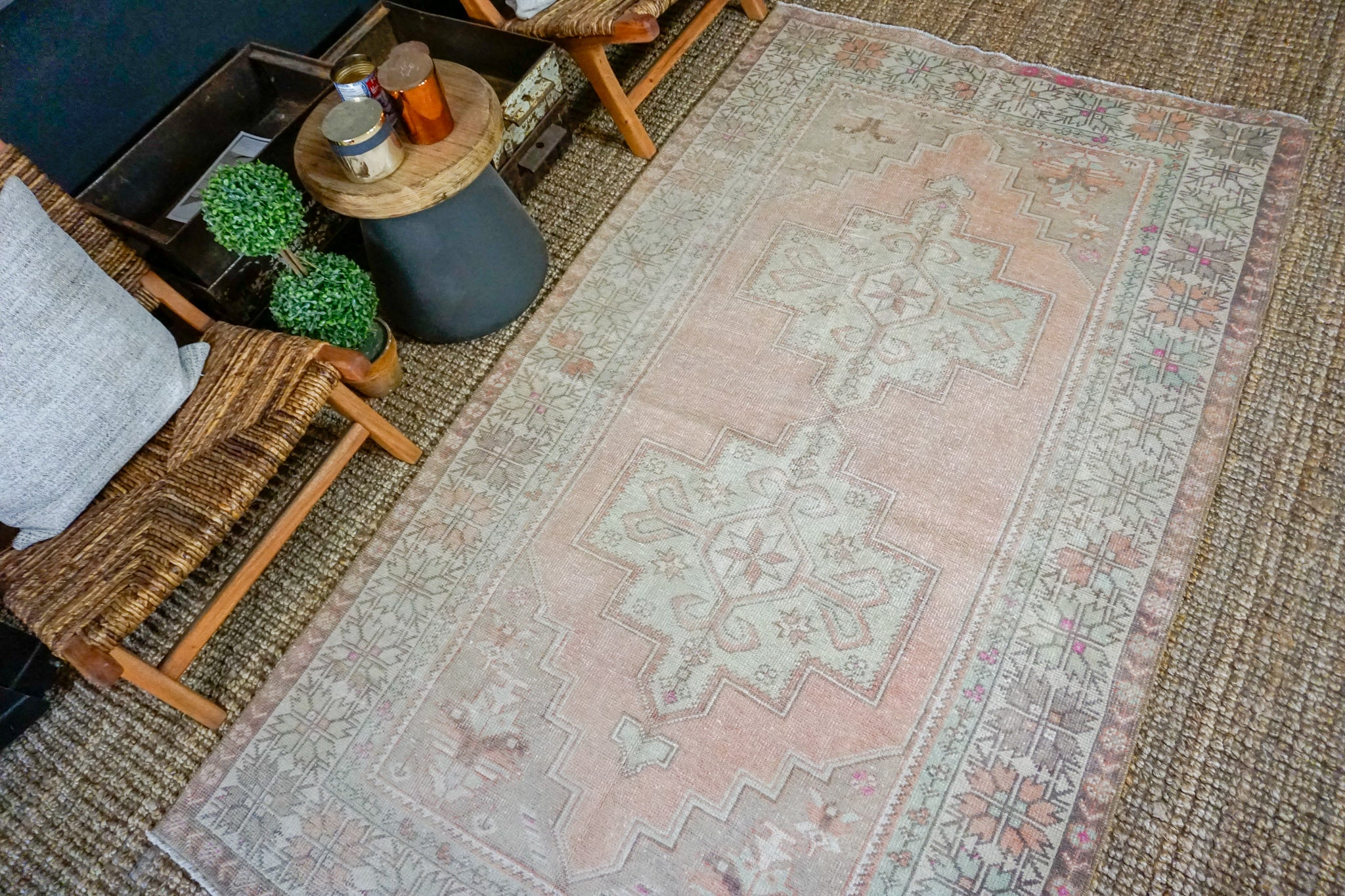 4'6 x 8'2 Vintage Turkish Oushak Carpet Muted Terra Cotta and Gray