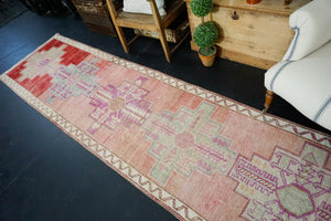 2'11 x 13'7 Vintage Herki Runner Muted Pink & Red