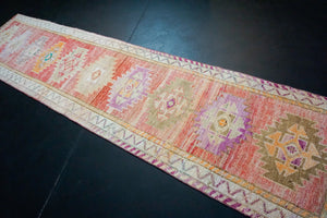 2'11 x 12'7 Vintage Herki Runner Muted Coral Pink-Red & Olive Green