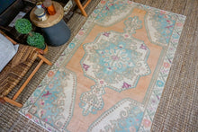 Load image into Gallery viewer, 4'7 x 7'5 Vintage Turkish Oushak Carpet Muted Apricot , Turquoise + Cream