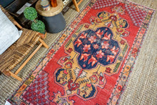 Load image into Gallery viewer, 4'3 x 9' Vintage Turkish Oushak Carpet Muted Red, Navy Blue and Camel Gold