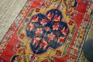 4'3 x 9' Vintage Turkish Oushak Carpet Muted Red, Navy Blue and Camel Gold