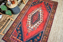 Load image into Gallery viewer, 4'7 x 8'4 Vintage Turkish Oushak Carpet Muted Red, Navy Blue and Carrot