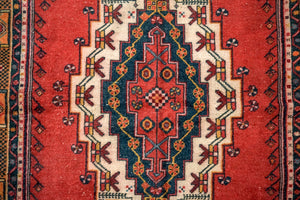 4'7 x 8'4 Vintage Turkish Oushak Carpet Muted Red, Navy Blue and Carrot