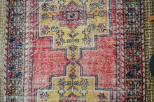 Load image into Gallery viewer, 4'4 x 8'5 Vintage Turkish Oushak Carpet Muted Red, Dark Navy and Honey