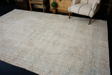 Load image into Gallery viewer, 6'10  x 11' Vintage Oushak Rug Cream & Sea Foam Green Carpet
