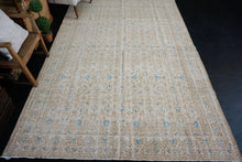 Load image into Gallery viewer, 6'7 x 9'10 Vintage Oushak Rug Beige & Turquoise Blue Carpet