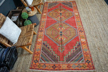 Load image into Gallery viewer, 4'2 x 9'3 Vintage Turkish Oushak Carpet Red, Brown and Blue