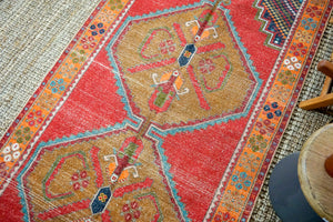 4'2 x 9'3 Vintage Turkish Oushak Carpet Red, Brown and Blue