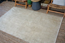 Load image into Gallery viewer, Sold 12/5*4'5 x 7'3 Vintage Turkish Oushak Carpet Muted Beige + Olive
