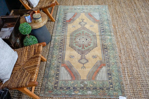 3'6 x 6'10 Vintage Turkish Milas Carpet Muted Green, Gray + Gold