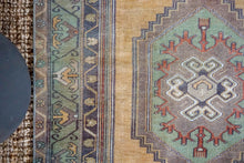 Load image into Gallery viewer, 3'6 x 6'10 Vintage Turkish Milas Carpet Muted Green, Gray + Gold