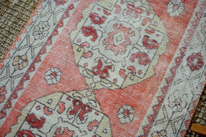 3'1 x 10' Vintage Turkish Oushak Runner Muted Red, Cream and Violet