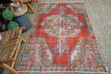 Load image into Gallery viewer, 4'3 x 7' Vintage Turkish Oushak Carpet Muted Deep Red, Pink + Green