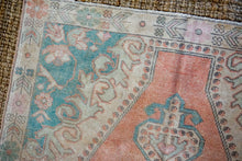 Load image into Gallery viewer, 4'5 x 7'3 Vintage Turkish Oushak Carpet Muted Beige, Aqua Blue + Blush Pink