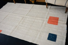 Load image into Gallery viewer, 5'2 x 8'5 MCM Organic Hemp Rug Vintage Turkish Kilim Creamy White