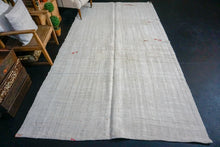 Load image into Gallery viewer, 6'1 x 11'3 MCM Organic Hemp Rug Vintage Turkish Kilim Creamy White