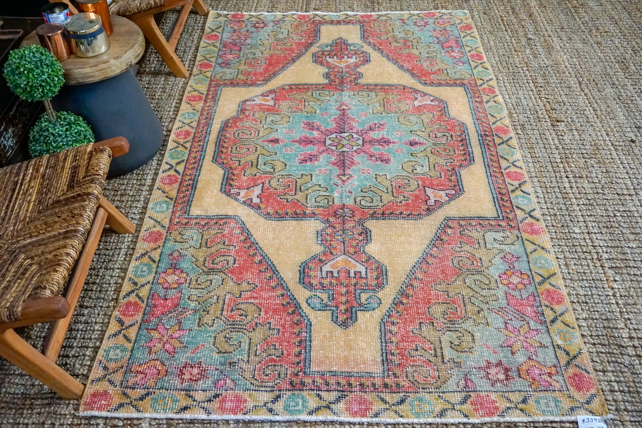 4'5 x 7'6 Vintage Turkish Oushak Carpet Muted Watermelon, Ecru and Turquoise