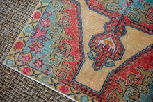 Load image into Gallery viewer, 4'5 x 7'6 Vintage Turkish Oushak Carpet Muted Watermelon, Ecru and Turquoise