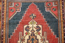 Load image into Gallery viewer, 4'6 x 7'8 Vintage Turkish Oushak Carpet Muted Red, Charcoal and Ecru