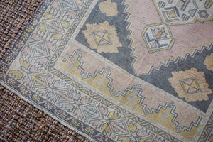4'1 x 7'8 Vintage Turkish Oushak Carpet Pink, Gray and Yellow