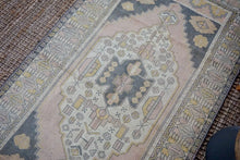 Load image into Gallery viewer, 4'1 x 7'8 Vintage Turkish Oushak Carpet Pink, Gray and Yellow