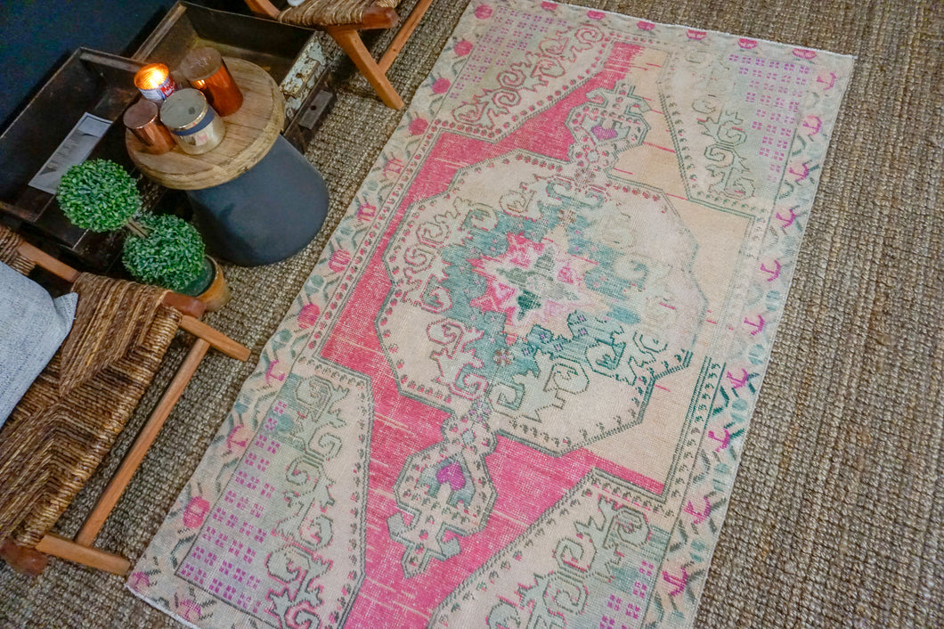 4'2 x 7'6 Vintage Turkish Oushak Carpet Bright Pink, Light Pink and Green
