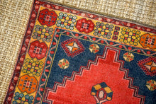 Load image into Gallery viewer, 4'1 x 7'1 Vintage Turkish Oushak Carpet Red, Blue + Yellow